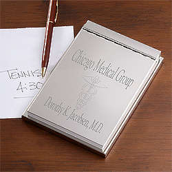 Engraved Silver Notepad for Doctors