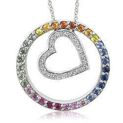 Multi Sapphire and Diamond Pendant in 14k White Gold