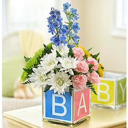 Baby Block Cube Floral Arrangement