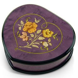 Lavender Heart Shaped Music Jewelry Box with Floral Inlay