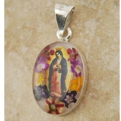 Our Lady of Guadalupe Sterling Silver Pendant with Real Flowers
