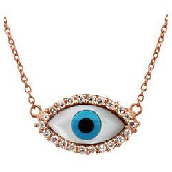 Rose Gold Vermeil CZ Blue Evil Eye Necklace