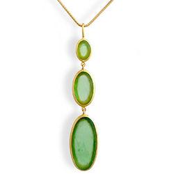 Green Glass Artisan Glass Triple Drop Necklace