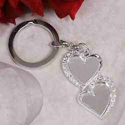 Double Heart Key Chain