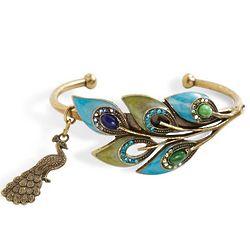 Peacock Feathers Cuff Bracelet