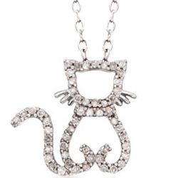 Diamond Cat Necklace in Sterling Silver