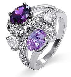 Fancy Swirl 4 Stone Family Birthstone Sterling Silver Ring