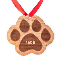 Personalized Wooden Paw Print Holiday Ornament