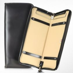 Brunelleschi Black Italian Leather Tie Case