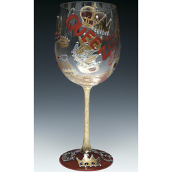 Queen Hand Painted Wine Glass