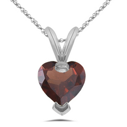 Garnet Heart Solitaire Pendant in 14K White Gold