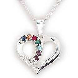 Sterling Silver Mother's Heart Birthstone Pendant with Diamond
