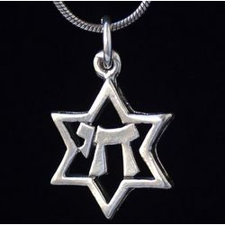 Sterling Silver Magen David with Chai Necklace
