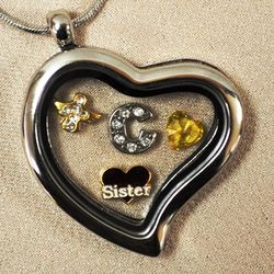 Loss of Sister Heart Locket with Charms