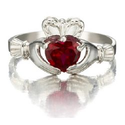 July Birthstone Heart Claddagh Ring in 14K Gold