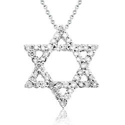 14 Karat White Gold Diamond Star of David Pendant