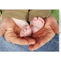 Dad Holding His Baby's Feet Father's Day Card