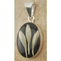 Black Oval Pendant with Real Wheat