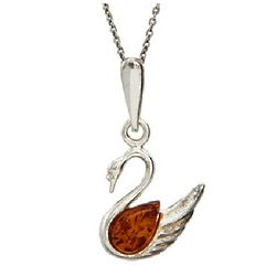Sterling Silver Baltic Amber Swan Pendant