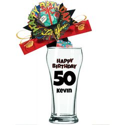 Personalized 50th Birthday Beer Glass
