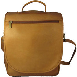 Tan Leather Vertical Expandable Backpack