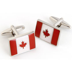 Canadian Flag Cuff Links with Personalized Case