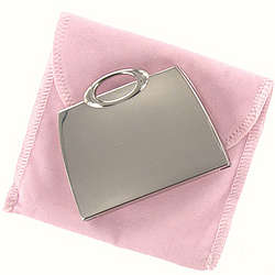 Personalized Handbag Compact Mirror in Pink Velvet Pouch