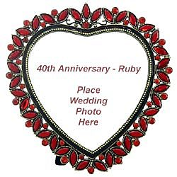 40th Wedding Anniversary Ruby Heart Frame