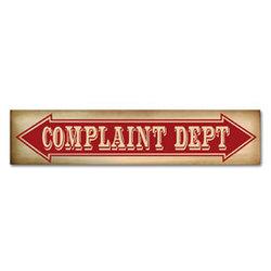 Complaint Dept Plaque