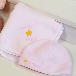 A Star is Born Personalized Baby Girl Blanket & Hat Set