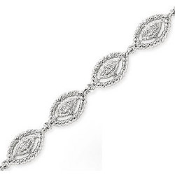 14K White Gold Rope Bezel Diamond Bracelet