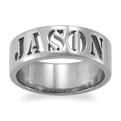 Platinum Plated Sterling Sculpted Stencil Name Band