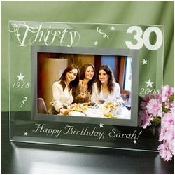 Personalized 30th Birthday Glass Beveled Frame