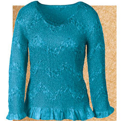 Turquoise Crinkle Top