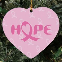 Personalized Ceramic Heart Breast Cancer Awareness Hope Ornament