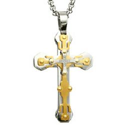 Mens Gold Tone and Steel Engravable Cross Pendant
