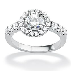 Round Cubic Zirconia 10K White Gold Engagement Anniversary Ring