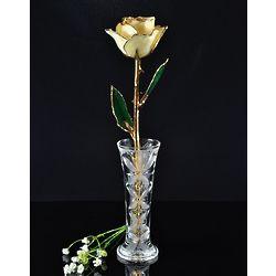 24K Gold Trimmed Preserved White Rose with Crystal Vase