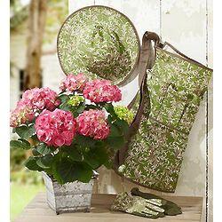 Pink Hydrangeas with Gardening Essentials Gift Set