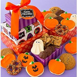 Halloween Buttercream Cookies and Treats Gift Tower