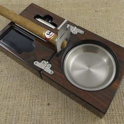 Personalized Folding Cigar Ash Tray with Cutter
