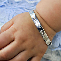Engravable Girls Christening Cuff Bracelet