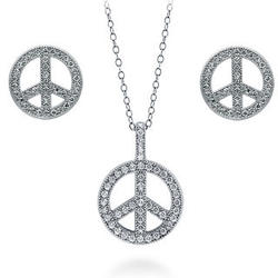 Sterling Silver Cubic Zirconia Peace Sign Earrings and Pendant