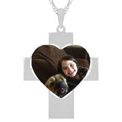 Custom Photo Heart and White Gold Cross Pendant