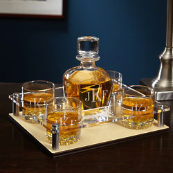 Classic Personalized Monogram Whiskey Decanter Tray with Glasses