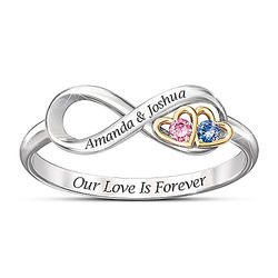 Our Love Is Forever Birthstone Ring with Personalized Names