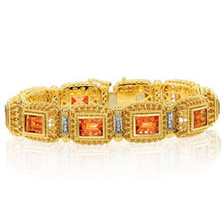 14K Yellow Gold Citrine Diamond Tennis Bracelet