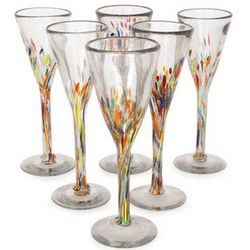 Multicolor Specks Champagne Flute Set