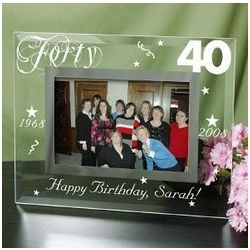 Engraved 40th Birthday Glass Frame