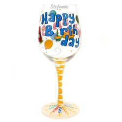 Personalized Handpainted Happy Birthday Wine Glass